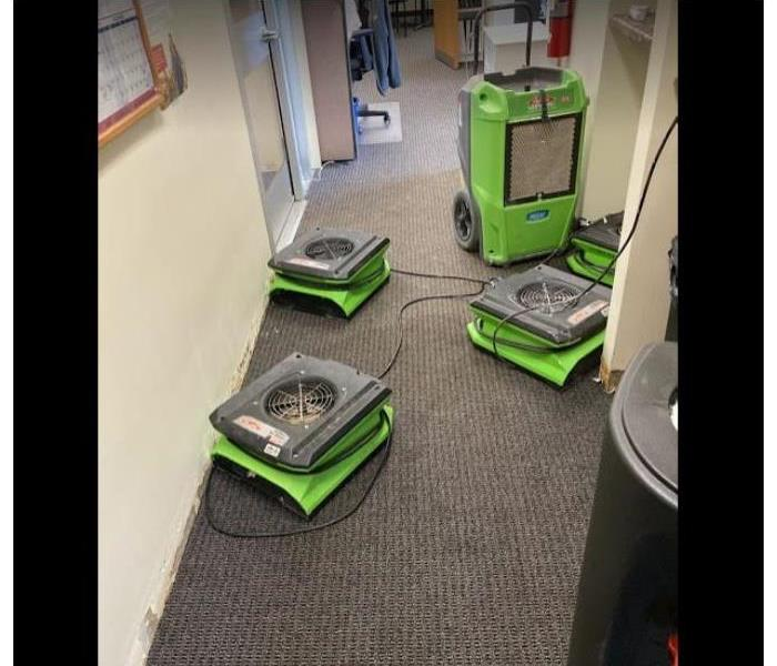 equipment set on carpet of office building