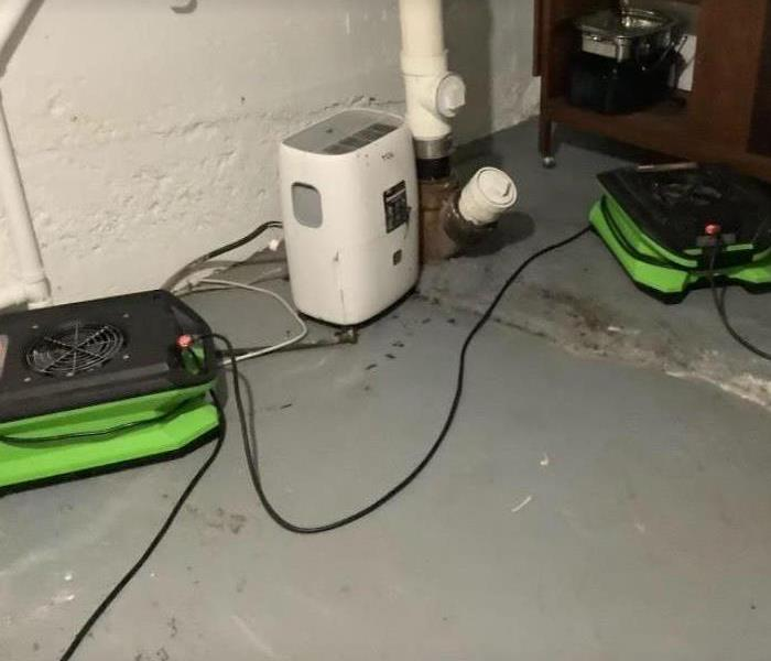 equipment set after water damage in basement