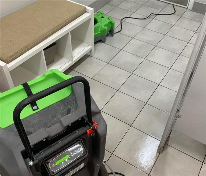 equipment set in bathroom after water loss